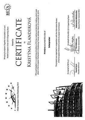 Certifikát účasti na Modelové EU ve Štrasburku
