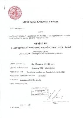 Doplňkové studium pro soudní tlumočníky a překladatele - Juridikum, PF UK - anglický jazyk