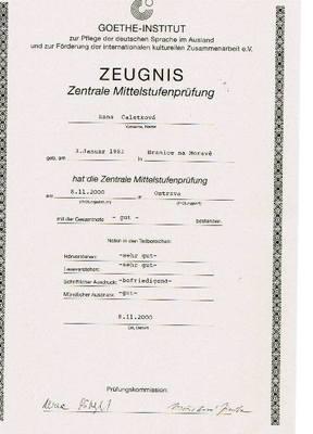 Vysvědčení o zkoušce z německého jazyka