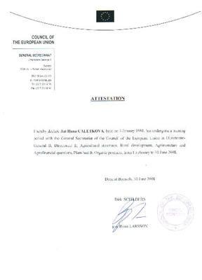 Doklad o absolvování praxe v Radě Evropské unie