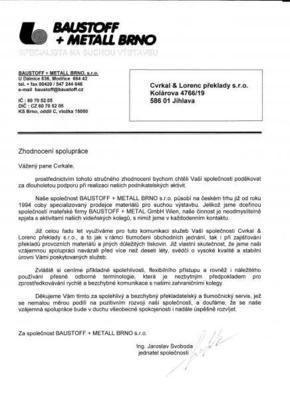 Referenční dopis od společnosti BAUSTOFF + METALL BRNO, s.r.o.