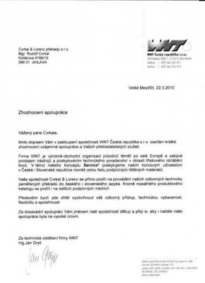 Referenční dopis od společnosti WNT Česká republika s.r.o.