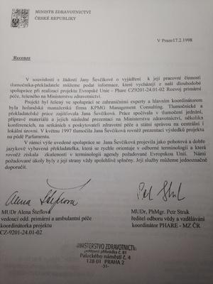 Recenze Ministerstvo zdravotnictví ČR