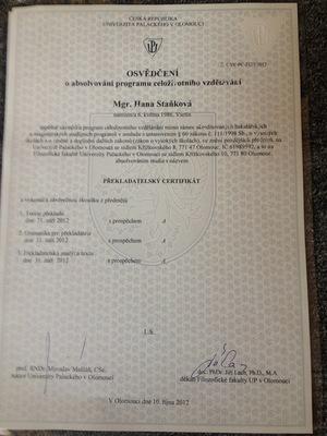 Překladatelský certifikát