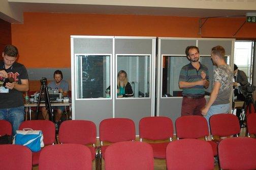 Simultánní tlumočení kongresu UNICA během Festivalu neprofesionálních filmů UNICA, Blansko 2018
