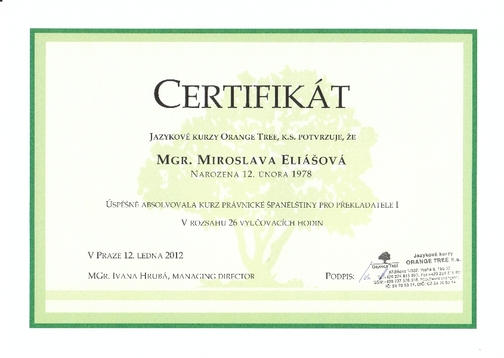 Certifikát o absolvování kurzu právnické španělštiny
